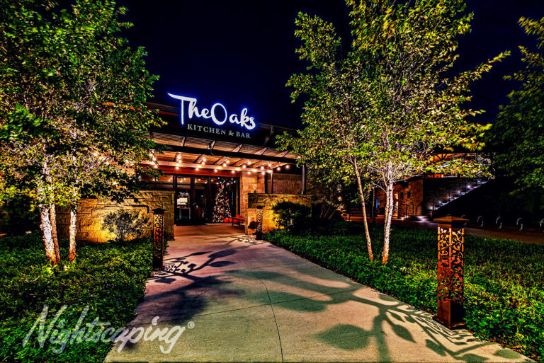 Outdoor lighting design for The Oaks Kitchen & Bar entrance and walkway