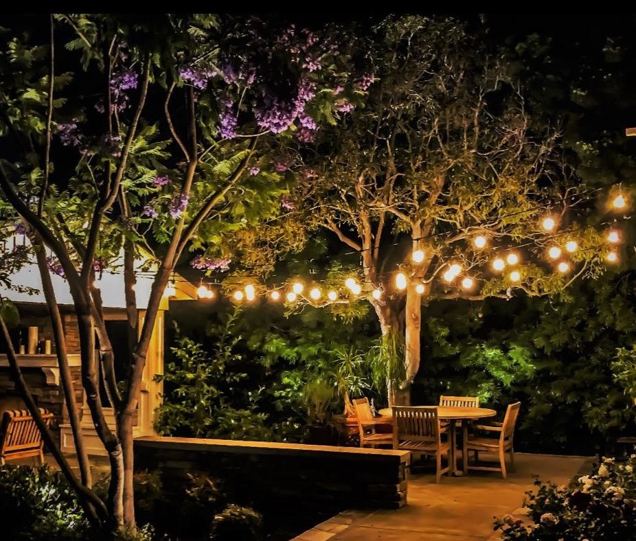 Specialty lighting - Market lights set up above outdoor deck