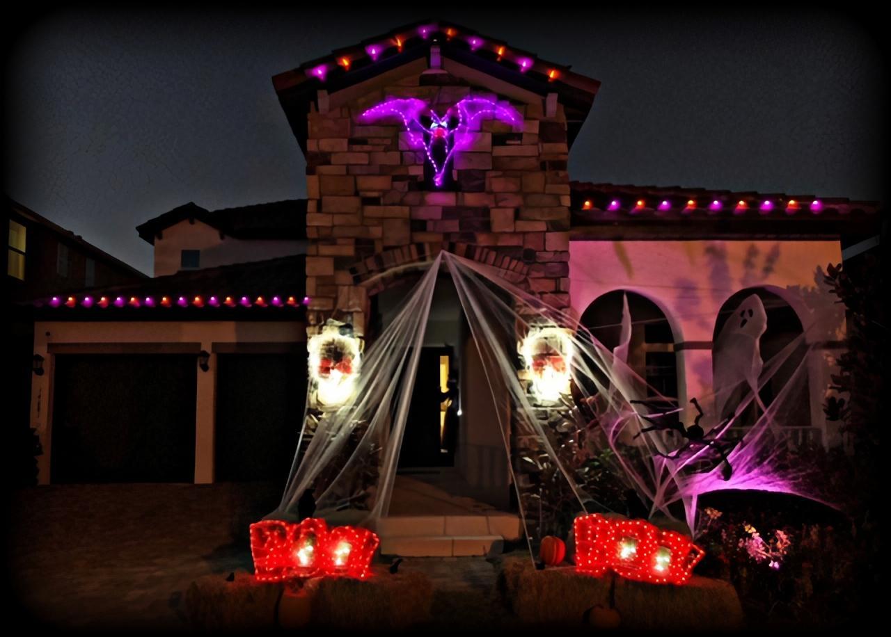 Outdoor Halloween lighting at night