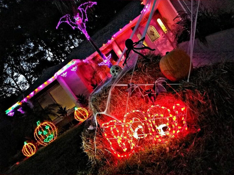 Spooky outdoor Halloween lighting at dusk