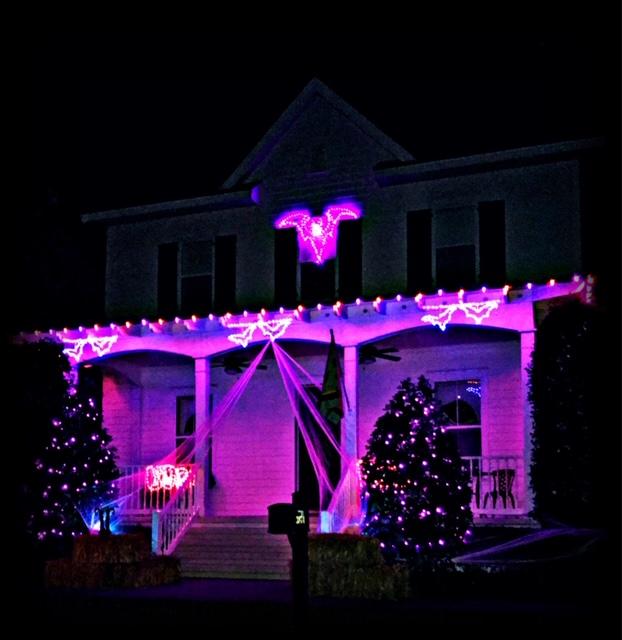 purple halloween lighting display