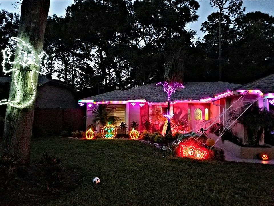 purple and orange LED outdoor lighting display for halloween
