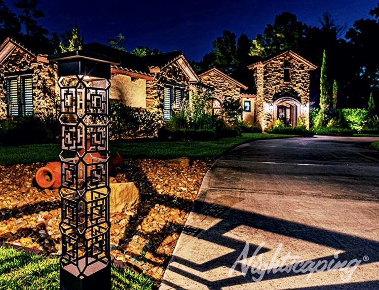 Home pathway landscape lighting design at night