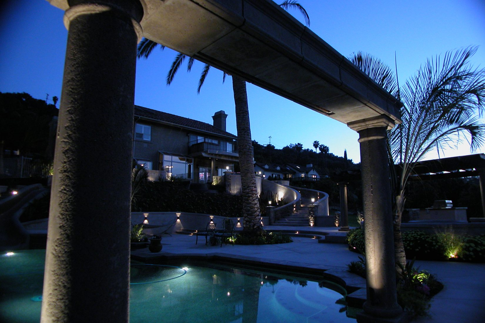beautiful outdoor landscape lighting on the front of a home