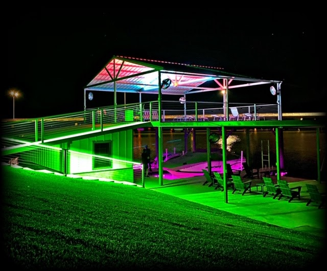 Multi-colored lighting on a house