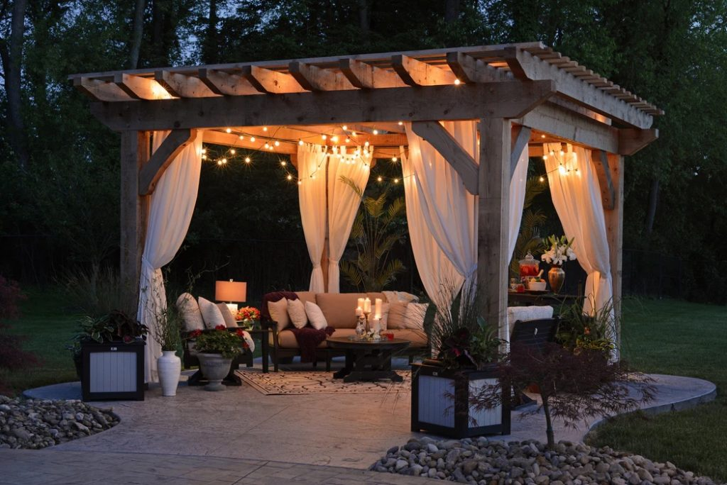gazebo with ambient lighting